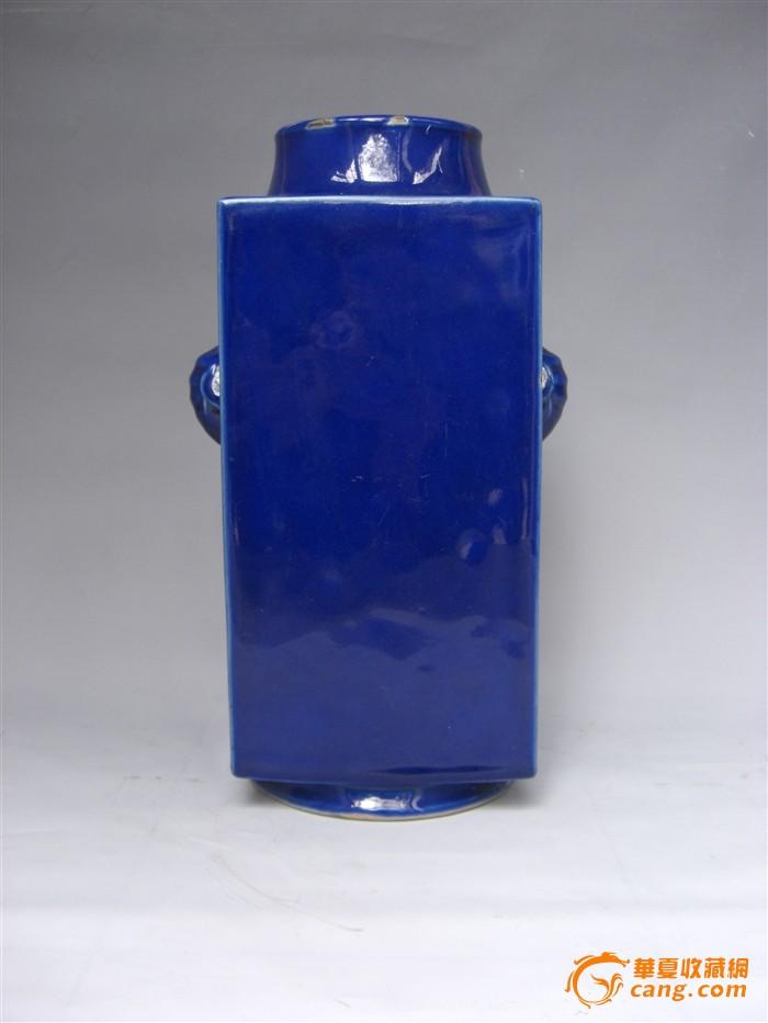 清 光绪 霁蓝釉琮式瓶图1
