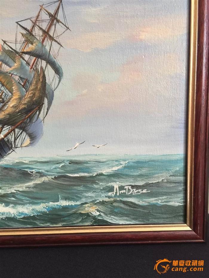 欧洲茉莉回流【手绘油画】帆船老木板绘画 画家签名