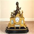 非常精美大气的法国十九世纪珐琅彩镏金铜钟(1890年)