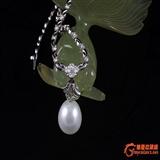 天然South Sea Pearl-18k白金镶嵌钻石项链