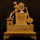 法国十九世纪初精美超大型帝国铜鎏金人物雕塑钟(高60厘米)