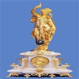 【德昌钟表】巨大铜鎏金雕塑云石圆锥摆钟(96厘米)