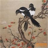 清代名家-吴竹之 精品力作绢底 秋华红叶 喜从天降 花鸟画