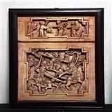 明代刀马人物高浮雕花板一对四块