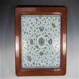 清乾隆 斗彩缠枝花卉纹瓷板