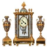 法国十九世纪鎏金掐丝珐琅钟(三件套)