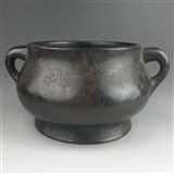 清代蚰龙耳铜香炉