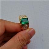【祖母绿戒指】天然祖母绿镶南非钻石18K金男款戒指