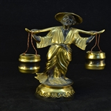 民国 铜鎏金挑水老翁造像精品