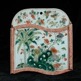 清代晚期粉彩花卉壁瓶