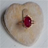 【红宝石钻戒】天然缅甸抹谷红宝石镶南非钻石18K金女款钻戒