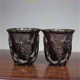 清代  小叶紫檀木雕梅兰如意纹杯一对【友尚收藏】