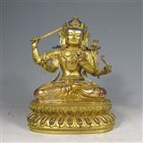 明代 铜鎏金文殊菩萨像