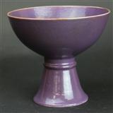 清 茄皮紫高足碗
