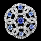 坦桑石银戒指 天然坦桑石配锆石925银镀14K金戒指