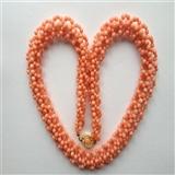 7844 (53.0克)天然孩儿面粉珊瑚多股网状珠链